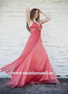 Empire Kleid Abendkleid in Lachs