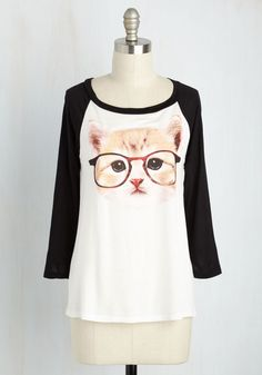 Purr-fect Vision Top. You dont need glasses to see the undeniable cuteness of this printed top! #multi #modcloth