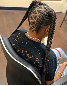Hairstyles braids My hair styles Meus estilos de cabelo Feed In Braids Hairstyles, Lil Girl Hairstyles, Black Kids Hairstyles, Black Girl Braided Hairstyles, Braided Ponytail Hairstyles, Easy Hairstyles, Braids For Kids, Girls Braids, 4 Braids