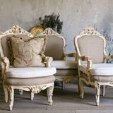 One of a Kind Vintage Armchair Crests Cream Set of 2 FEAV4302. this site has amazing furniture for when we actually have $