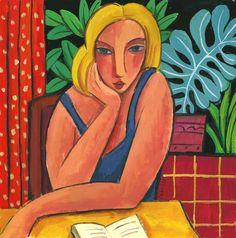 Rubia en la mesa con libro Gouache sobre papel, 25x25 cm Guillermo Martí Ceballos