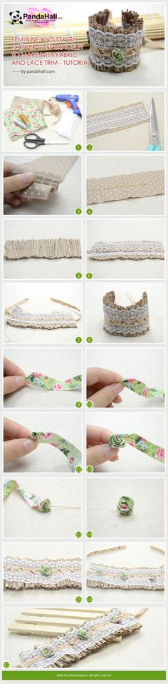 Tutoriel photo bracelet. Merci ! Feminine and Stylish Flower Cuff Bracelet to Make with Fabric and Lace Trim - Tutoria