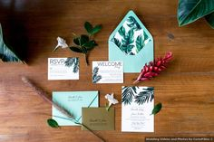 Wedding stationery set, RSVP cards, tropical floral decor and teal themed invitations Wedding Place Cards, Wedding Programs, Save The Date Invitations, Wedding Invitations, Formal Wedding, Summer Wedding, Wedding Videos, Wedding Photos, Dominican Republic Wedding