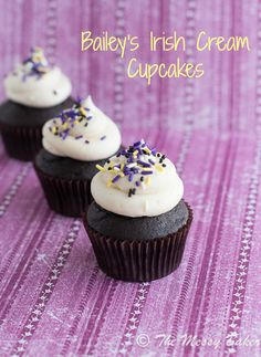 Dark Chocolate Bailey's Irish Cream Cupcakes- very good cupcakes! They turned out great, would use this recipe again.