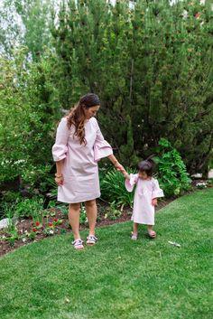 Mommy and Me Outfits: Pink Striped Bell Sleeve Dress + Linkup!   SandyALaModeBloglovinEmailFacebookInstagramPinterestRSSTwitter