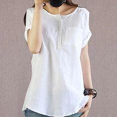 material de linho casuais camisa de manga curta das mulheres – BRL R$ 23,42
