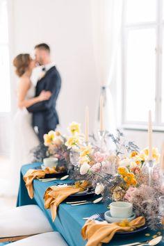 Sarah and Jack at their lovely reception. #praguewedding #wedding #reception #weddingreception #weddingtable #weddingflowers #bluewedding #autumnwedding #elegantwedding #elopement #bride #groom #chateaumcely #pragueweddingphotography