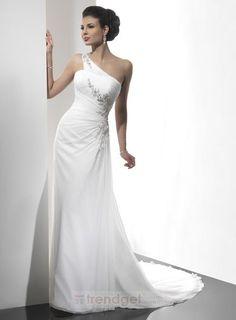 Modest A-line One Shoulder Floor-length Chiffon White Wedding Dresses - $148.99 - Trendget.com
