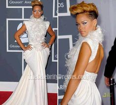 Rihanna Grammys Red Carpet 2010 Elie Saab Couture Prom Gown Formal Dress