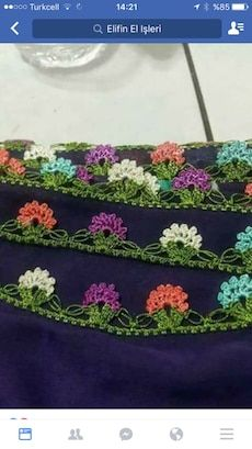 This post was discovered by Ün Crochet Lace Edging, Crochet Borders, Crochet Flowers, Baby Knitting Patterns, Crochet Patterns, Crazy Quilt Stitches, Crochet Decoration, Embroidered Clothes, Quilt Stitching