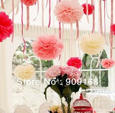 "Free Shipping 10pcs/lot 12"" (30cm)Tissue Paper Pom Poms Flower Balls Wedding Party Shower Decoration"