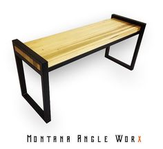 Custom Contemporary Steel Bench With Alder Butcher Block Seat, Steel Bench, Entry Bench,  Refined Industrial, Industrial Chic