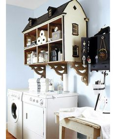 """Be a Doll  Super cute and architecturally sound, this dollhouse gets a major renovation in being repurposed as bathroom storage. The rooms are perfect for housing everything from towels to toilet paper. Use anchors, brackets, and heavy-duty hardware to secure the house safely to your wall."""""""