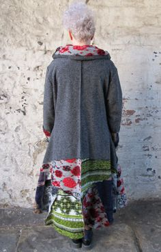 Sarah Santos Lagenlook Wool Winter Coat Grey Patchwork