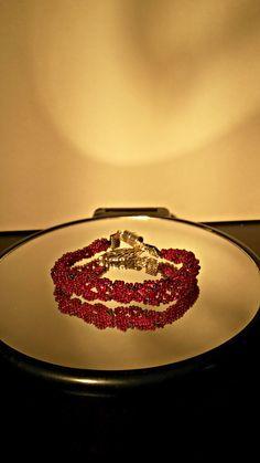 Ruby red leaf bracelet 6 strand braid