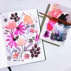 Late night floral sketch #calligrafikas#watercolor #shinhanwatercolors #holbeinwatercolors