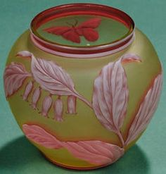 glass, England, A Thomas Webb and Sons, [three color] Art Nouveau Cameo art glass vase, Stourbridge, England, white cut to red cameo leaf and butterfly decoration cut to citron ground, Circa 1880-1920
