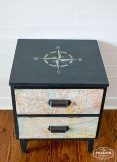 My Passion For Decor: Vintage Map Nightstand