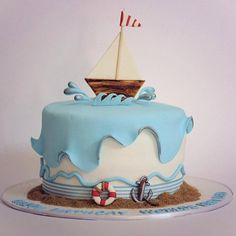 Trendy Baby Shower Themes For Boys Nautical Cake Pop Ideas Sailor Cake, Sailor Theme, Boat Cake, Sea Cakes, Pink Cakes, Nautical Cake, Nautical Party, Novelty Cakes, Occasion Cakes