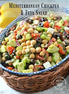 Mediterranean Chickpea 038 Feta Salad Take this salad to your next bbq and wow them with all the health benefits of chick peas red peppers red onion kalamata olives and cucumbers instead of mayo based salads mediterranean chickpea salad summer Chickpea Feta Salad, Feta Salat, Cucumber Avocado Salad, Bacon Avocado, Mediterranean Diet Recipes, Mediterranean Chickpea Salad, Mediterranean Salad Dressing, Mediterranean Appetizers, Mediterranean Diet Breakfast