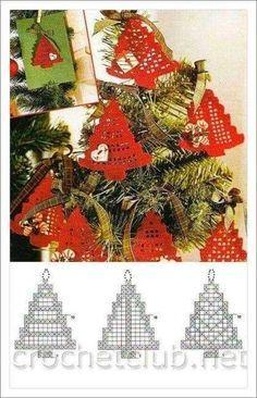 Crochet Christmas ornament crochet by SevisMagicalStitches on Etsy by loretta - Salvabrani - Salvabrani Crochet Christmas Decorations, Christmas Tree Pattern, Christmas Crochet Patterns, Crochet Christmas Ornaments, Holiday Crochet, Christmas Crafts, Crochet Snowflake Pattern, Crochet Snowflakes, Crochet Chart
