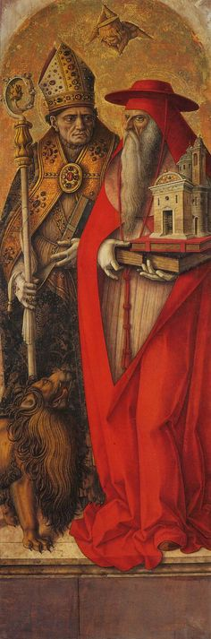 Carlo Crivelli: St Jerome and St Augustine  c. 1490  Tempera on wood, 208 x 72 cm  Gallerie dell'Accademia, Venice
