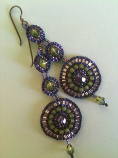 Jeka Lambert, seed bead circle earrings, vintage and new glass beads