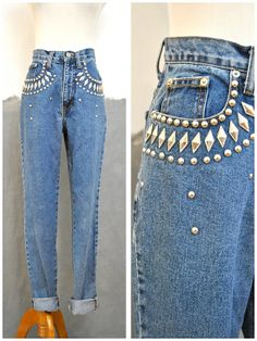 80s/90s Studded EXPRESS Mom Jeans/ High Waisted/ Street Style/ Grunge