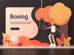 Landing page - Boxing designed by Vivivian for Vitality Studio. Connect with them on Dribbble; Digital Communication, Web Design Inspiration, Design Ideas, Show And Tell, Motion Design, Box Design, Website Template, Activities, Creative