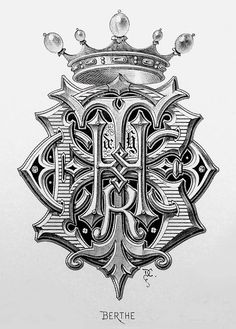 "Monogram ""Berthe"" by Charles Demengeot - 1881 Monogram Design, Monogram Fonts, Monogram Letters, Lettering Design, Vintage Typography, Typography Letters, Fancy Letters, Font Art, Ink Illustrations"