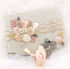 Guest Book, Signature Book, Signing Pen, Shabby Chic in Ivory, Silver, Blush, Peach, Tan and Champagne with Linen, Lace, Pearls and Brooch