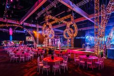 About 5,000 guests filled the massive party space the size of three football fields. Illuminated trussing served as decor surrounding a central water feature within the space.  Photo: Sean Twomey/2me Studios
