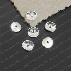 (25881) bijou, accessoires, charme vintage, pendentif, alliage d'argent 9*8mm ronde. courbes. ou brossé