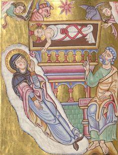 Geburt Christi, Breviarium cum picturis, 1100-1200, BSB, Clm 8271, image 126 Medieval Art, 12th Century, Tarot Decks, Illuminated Manuscript, Christmas Art, Pictures, Fictional Characters, Image, Yule