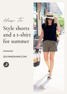 See how fashion expert Jo-Lynne Shane takes a simple pair of shorts and a linen t-shirt and levels it up into an effortlessly chic summer look! Check out what fashion tips and tricks she uses to add the perfect accessories to get you through all your summer activities. Everyday Casual Outfits, Simple Outfits, Summer Shorts Outfits, Short Outfits, Linen Tshirts, Fashion For Women Over 40, Night Looks, Summer Looks, Warm Weather