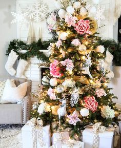 Mallory and Savannah of Classy Clutter prove that blooms aren't just for spring with their flower-filled fir. Infuse a feminine aesthetic into your tree with a pink, gold and white palette, large florals and glittery ornaments.