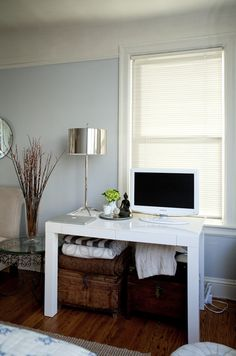 serene wall colors, house tours, office spaces, blue wall, lamp, desk, san francisco, white furniture, west elm