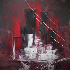 N-YORK  TOILE SUR CHASSIS 50 X 50 ACRYLIQUE COUTEAU - 绘画,  50x50 cm ©2014 EDWIGE LEFEVRE -                                                            抽象主义, 帆布, 抽象主义, ABSTRAIT ART PEINTURE MODERNE TENDANCE NOUVEAU DECO ROUGE NOIR EXPOSITION CREATION EDWIGE LEFEVRE