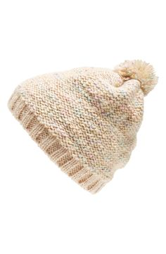 Crushing on this pompom beanie in cotton-candy colors.
