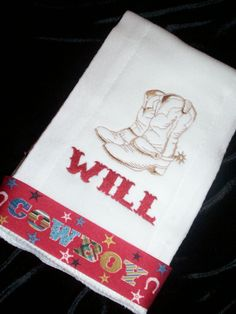 Personalized baby burp cloth cowboy boots with ribbon