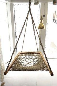 Oak Macrame Woven Hanging Hammock Chair — Wary Meyers