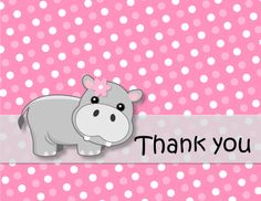 This pink hippo theme would be cute for any baby shower or 1st birthday party.  ---12 FOLDED Thank You Cards and envelopes---CUSTOM MESSAGE on front.  OTHER HIPPO PARTY PRODUCTS:  http://www.etsy.com/shop/bcpaperdesigns/search?search_query=hippo