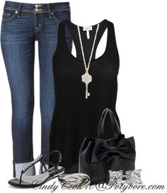 """Silver and Black"" by cindycook10 on Polyvore"