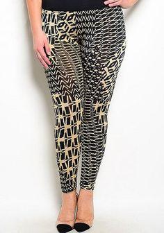 plus size high waist geometric patten black beige leggings #plussizepants #plussizefashion #plussizeleggings