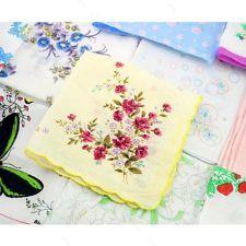 10Pcs Women Kids Vintage Cotton Yarn Hanky Towel #A Daily Floral Handkerchief