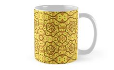 Helices, yellow & brown abstract pattern Mugs by Clipsocallipso Worldwide shipping  Brown helices and dots on shining yellow background. Seamless abstract hand drawn arabesque pattern.   © Clipso-Callipso / Julia Khoroshikh  #yellow #brown #yellowandbrown #helices #arabesque #pattern #abstract #curves #patterndesign #clipsocallipso #printshop #textiledesign #apparel  #yellowaesthetic #redbubble  #tabledecor #mugs #coffeetime #coffeebreak #homedecor #supportartist #coffeemug