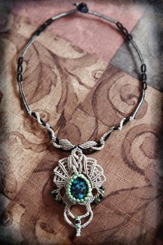 Natural Stone Macrame Necklace  Macrame by KnottyBeadsbySally, $89.00