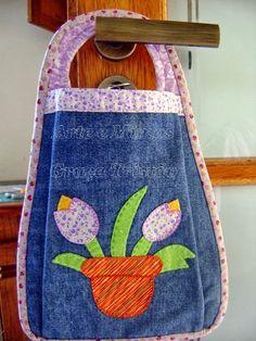 Lixinho de Carro ou Organizador com Reaproveitamento de Jeans - Arte e Mimos