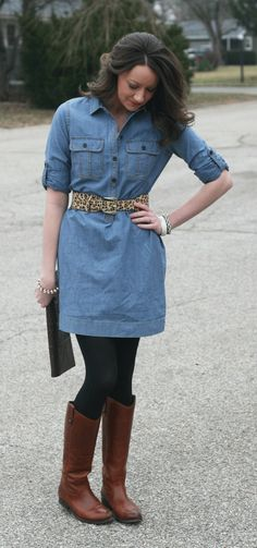 We love the denim dress trend. Check out how she accessorized this must  have piece