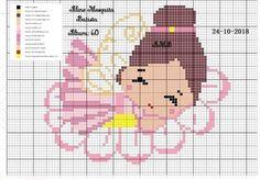 """182 curtidas, 1 comentários - Ac Ponto cruz e Gráficos (@ac_ponto_cruz_e_graficos) no Instagram: """"💗 Créditos a (o) criadora do gráfico 🙂. #pontocruz #pontocruzterapia #pontocruzcomamor…"""" Cross Stitch Fairy, Cross Stitch Angels, Cross Stitch Rose, Cross Stitch Charts, Cross Stitch Patterns, Crochet Dolls Free Patterns, Baby Knitting Patterns, Cross Stitching, Cross Stitch Embroidery"""